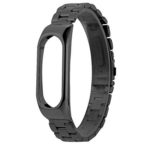 Correas para Relojes Xiaomi Mi Band 2,Lenfesh Acero inoxidable Lujo Pulsera Correa nueva ultradelgada (Negro)