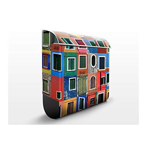 Design Briefkasten Fenster der Welt | Haus Mosaik Foto-Collage Bunt, Postkasten mit Zeitungsrolle, Wandbriefkasten, Mailbox, Letterbox, Briefkastenanlage, Dekorfolie
