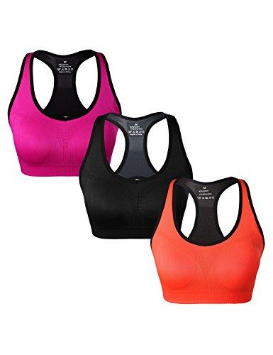 Match Soutien-gorge de Sport Racerback pour Femme Sans Couture Sans Armature pour Yoga Gym Fitness #002 1 lot de 3(Noir-Orange-Prune)