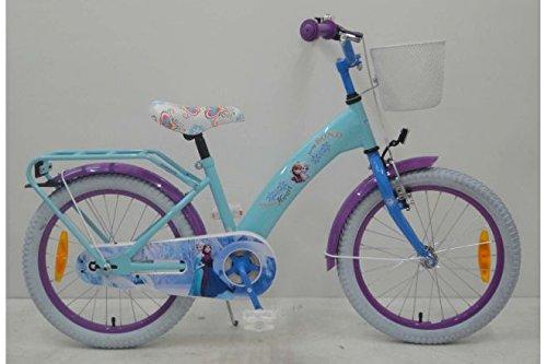 Bicicleta Chica 18 Pulgadas Disney Frozen Ruedas Extraíbles la Cesta y EstanteAzul Púrpura 95% Montado