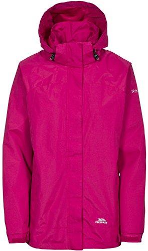 Trespass Nasu II, Cerise, L, Wasserdichte Jacke mit einrollbarer Kapuze für Damen, Large, Rosa / Pink
