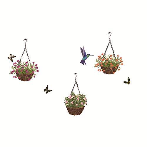 Liwendi Hummingbird Hängenden Korb Blume Pvc Selbstklebende Wandaufkleber Wohnzimmer Schlafzimmer Dekorative Wandaufkleber 50 * 70 Cm