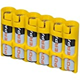 Yellow , Holds 6 Batteries : Storacell By Powerpax SlimLine AAA Battery Caddy, Yellow, Holds 6 Batteries