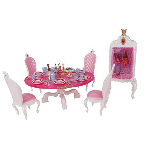 Gazechimp Set Mesa de Comedor Mueble de Cocina Armario Accesorios Decoración Juguetes de Barbie para Niñas
