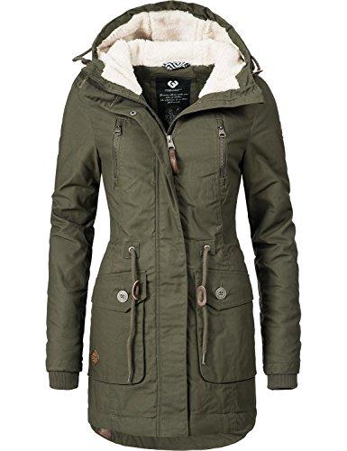 Ragwear Damen Mantel Wintermantel Winterparka YM-Elsa (vegan hergestellt) Khaki Gr. L
