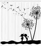 ABAKUHAUS Arte Retro Cortina de Baño, Vintage Clásico Cardos Dandeliones Flores Bonitas Amantes Arte Estampa, Estampa Moderna Material Opaco Resistente al Agua Durable, 175 X 200 cm, Negro