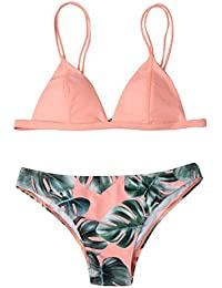 OverDose Frauen Bademode Bikini Set Print Blätter Push-Up Bikinis Gepolsterte Bade Badeanzug Beachwear