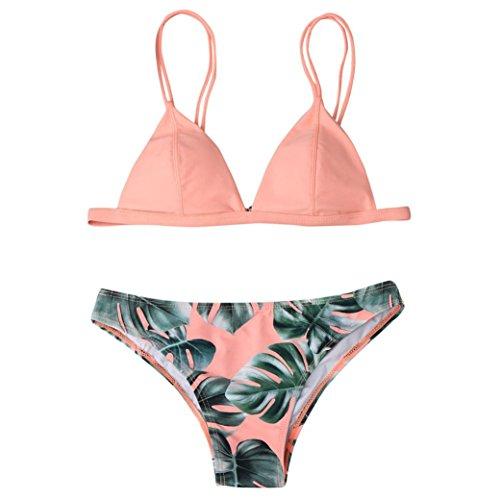 OVERDOSE Frauen Bademode Bikini Set Print Blätter Push-Up Bikinis Gepolsterte Bade Badeanzug Beachwear(Pink,S