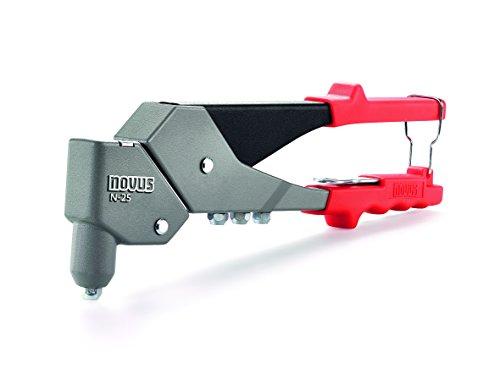 Novus Blindnietzange N-25 Vario, aus Aluminium, Nietzange mit 360° Schwenkkopf, 1-Hand-Bedienung, Griffverriegelung