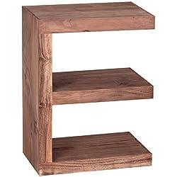 """WOHNLING Beistelltisch Massivholz Akazie """"E"""" Cube 60 cm Wohnzimmer-Tisch Design braun Landhaus-Stil Couchtisch Natur-Produkt Standregal Unikat Zeitungshalter Massivholzmöbel Echtholz Anstelltisch"""