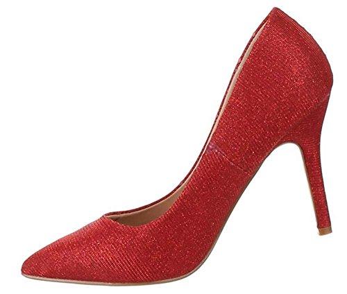 Damen-Schuhe Pumps | Frauen High Heels mit 10 cm Stiletto-Absatz in verschiedenen Farben und Größen | Schuhcity24 | Glitter Abendschuhe in Synthetik Rot