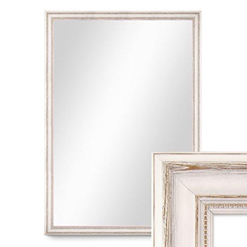 PHOTOLINI Wand-Spiegel 80x110 cm im Massivholz-Rahmen Landhaus-Stil Weiss/Spiegelfläche 70x100 cm