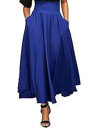 Jupe Femme Longue Taille Haute Tutu Uni Simple Poche Vintage Élégante Classique Rétro Plissé Stretch Bureau Cocktail Party Maxi Belted avec Deux Poches Avant Fendue Ceinture Casual