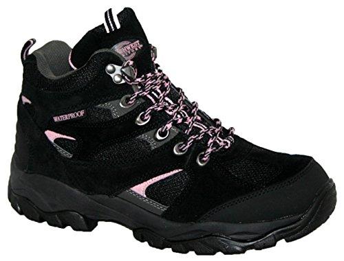 Donna Charlotte completamente impermeabile da passeggio/escursionismo con lacci Trainer Boot Black
