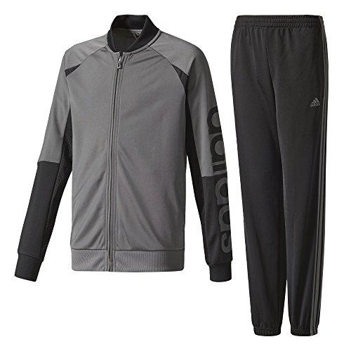 adidas Jungen Linear Closed Hem Trainingsanzug, Grey Four/Black/White, 128