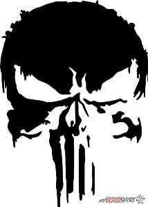Myrockshirt Punisher Fieser Totenkopf 20 Cm Aufkleber Für Auto Scheibe Lack Wand Wandtattoo Aus Hochleistungsfolie Für Alle Glatten Flächen Autoaufkleber Tuning Decal Sticker Auto