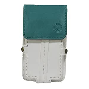 Jo Jo A6 Nillofer Series Leather Pouch Holster Case For Ringing Bells Smart101 White Light Blue