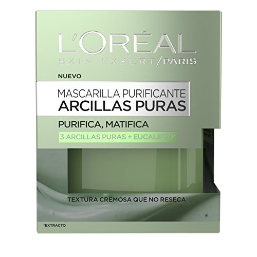 L'Oreal Paris Arcillas Puras Mascarilla Purificante, Tono: Verde, Total: 50 ml