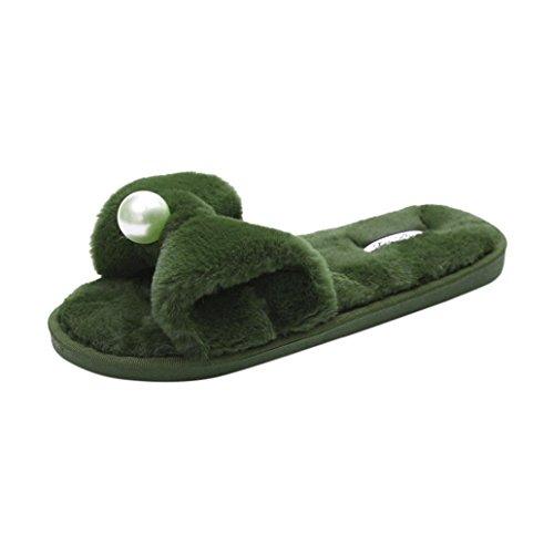 Rawdah Claquette Femme Glissez Sur Les Diapositives Fluffy En Fausse Fourrure Plat Slipper Flip Flop Sandal Tongs Chaussures - Vert - Taille 40/41 EU