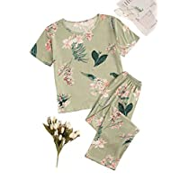 Shein Women's Two Piece Pajama Printed Short Sleeve Top and Long Pants Set Green L