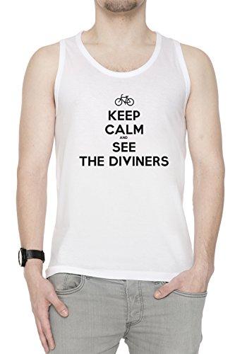 Keep Calm And See The Diviners Uomo Canotta T-shirt Bianco Cotone Girocollo White Men's Tank T-shirt