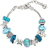 Pendant Bracelet Ocean Series Blue Crystal/Glass Pearl Sea Star Shell Bracelet Lady Crystal Jewelry Bracelet Valentine's Day