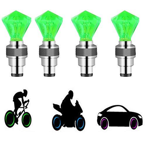 Suweor upo 8 Stücke LED wasserdichte Reifen Ventilkappen Neonlicht Auto Zubehör Fahrradlicht Auto, LED Ventil Kappen, Reifen Beleuchtung, Speichen Licht für Fahrrad, Auto, Motorrad oder LKW (Grün)