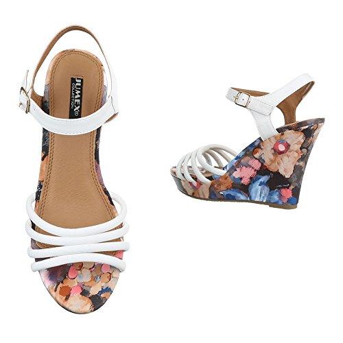 Ital-Design , chaussures compensées femme Weiß T82001