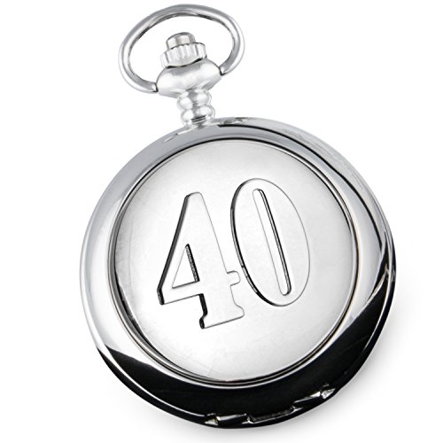 De Walden Herren 40. Geburtstag Qualität Taschenuhr Geschenk mit \'40\' Funktion Fall Front in einer Marken Satin gefüttert Geschenkbox