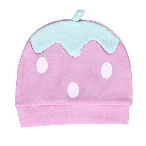 longra-nouveau-ne-petit-enfant-baby-strawberry-bonnet-bonnet-infant-horn-knotted-cap-rose