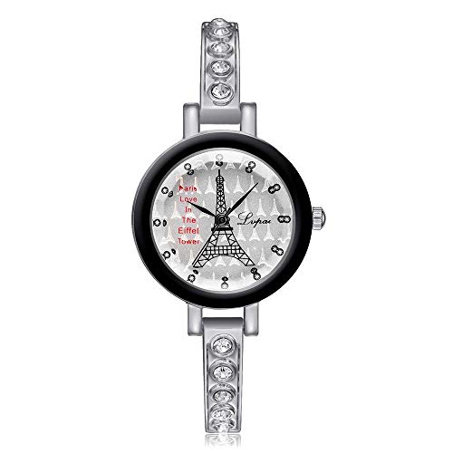Armbanduhren für Damen Mädchen Studentin Womans Armbanduhr Damen Serie mädchenuhr Damenarmbanduhr Britischer Windturm mit Diamantarmband Alu @ Silber mit schwarzem Rahmen - Serie Aluminium-rahmen