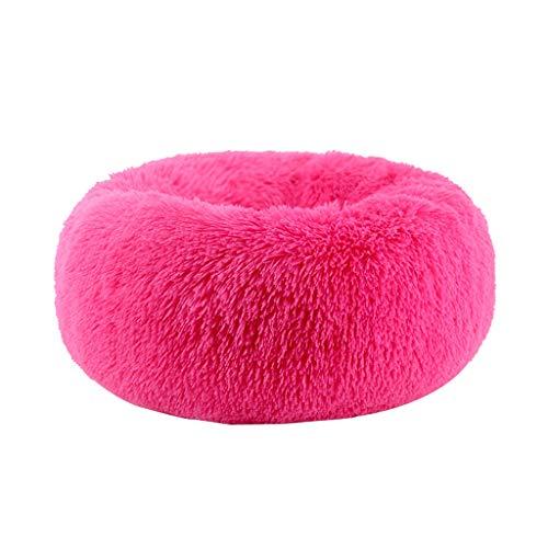 JHG Hundehütten Plüsch-Hundebett, Hundematte, Pet-Bett, Oval PP Baumwolle Polsterung Rutschfest Feuchtigkeitsbeständig Bequeme Waschbar (Color : Pink, Size : S) - Dicke Ovale Basis