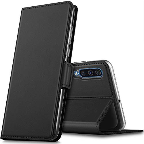 GEEMAI für Samsung Galaxy A50 Hülle, handyhüllen Flip Hülle Wallet Stylish mit Standfunktion & Magnetisch PU Tasche Schutzhülle passt für Samsung Galaxy A50 Smartphone, Schwarz