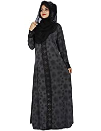 D C Beautiful Women's Lycra Fabric Stone Work burqa for women stylish With Hijab (Black_Free size_burqa for women stylish)