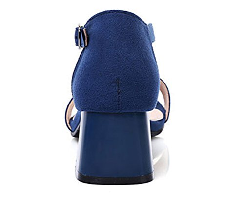 Damen Offen Wildleder High Heel Sandalen mit 6cm BlockAbsatz und Schnalle Legerer Komfort Schuhe Blau