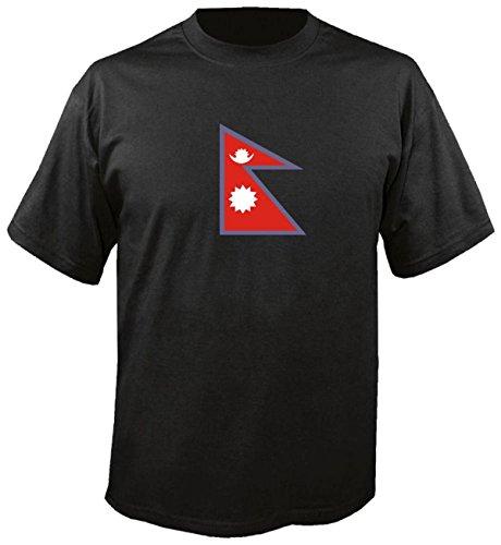T-Shirt für Fußball LS125 Ländershirt L Mehrfarbig Nepal - Nepal mit Fahne/Flagge - Fanshirt - Fasching - Geschenk - Fasching - Sportshirt freie Farbwahl
