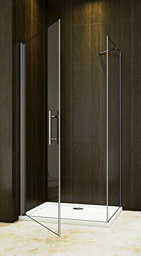 Duschkabine 90x90cm Duschabtrennung Duschtür Drehtür Duschwand Seitenwand NANO Glas 195cm