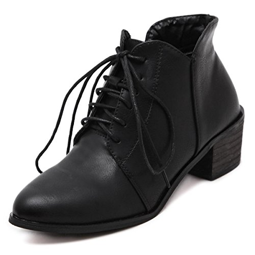 LvYuan-mxx Bottes femme / bottes / hiver automne / talon chunky pointu orteil Retro / cravate chaussures bottes / Confort Casual / Bureau & Carrière Robe / bas Talons hauts BLACK-37