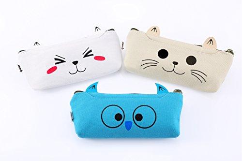 ipow 3 pezzi adorabile cute Animal Cat Dog gufo tela cosmetici sacchetto della matita penna caso, studenti cancelleria della cerniera, attrezzi, gadget, colore bianco, giallo e blu