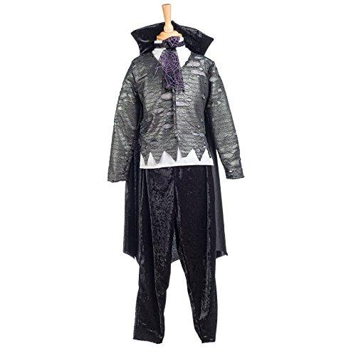 Vampirlord Kostüm Kinder 2tlg Oberteil mit Umhang u Hose perfekt zu Halloween u Karneval schwarz grau - 9/11 (Sport Blood Kostüme Kinder)