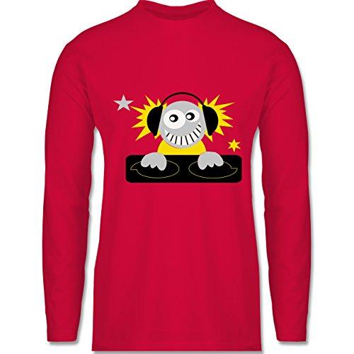 Typisch Männer - Discjockey - Longsleeve / langärmeliges T-Shirt für Herren Rot