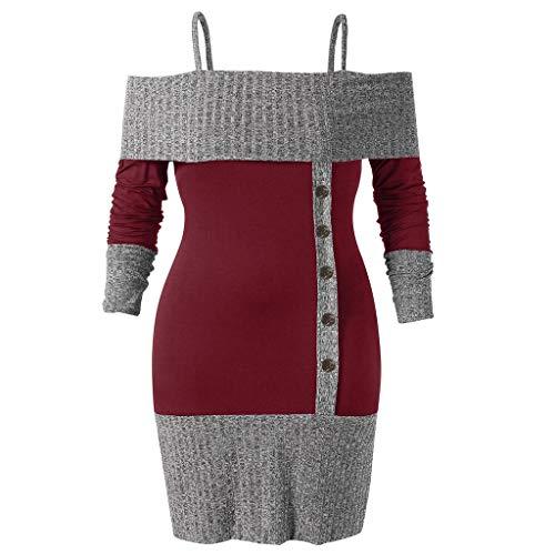 VEMOW Heißer Elegante Damen Frauen Plus Size Long Sleeve Open Schulter Zwei Ton Strickwaren Lässige Freizeit Party Pullover Tops Hemd Winter Herbst(Weinrot, EU-50/CN-5XL)