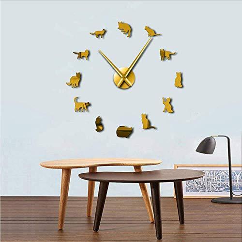 Djkaa Sin Marco Gatos Silueta Arte De La Pared Reloj Reloj Gatitos 3D DIY Reloj De Pared Juguetón Forma De Gato Agujas Grandes Chica Kit De Decoración De La Habitación: Amazon.es: Hogar