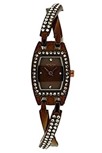 Softech Damen braun vergoldet Diamante überqueren Strap Jeweled Bracelet Watch Analog Quarz zusätzlichen Akku