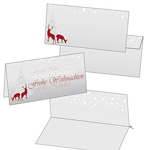 Klappkarten Weihnachtskarten rotWild mit Umschlag und Einlegeblättern Format DIN lang 2010