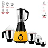 Anjalimix Tabby Yellow 600 Watts Mixer Grinder with 5 Jars - Dry, Wet, Chutney+ Mini Spice Grinder + Fruit Filter Juicer Jar