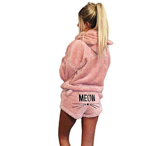 Ketamyy Damen Zwei Stück Schlafanzug Winter Warm Bequem Pyjamas Sets Kuscheliger Katzenohren Kapuzenpullover + Cat Stickerei Shorts Nachtwäsche Hellrosa S