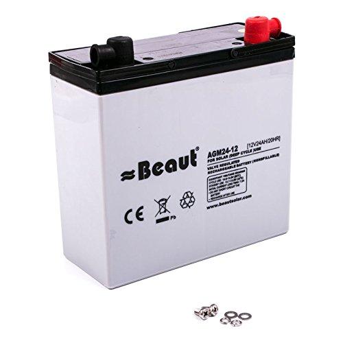 Solar Batterie Beaut 24 A 12 Volt AGM 181 x 77 x 170 mm ideal für Wohnwagen und Wohnmobil (24-volt-batterie)