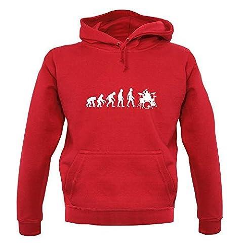 Sweat-shirt à capuche Evolution of Man - unisexe - joueur batterie - rouge - M