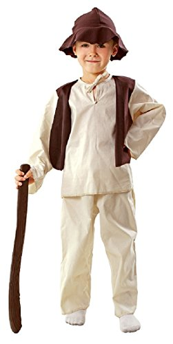 Magicoo Hirten Kostüm Krippenspiel Kinder aus Baumwolle braun-beige - Schäfer Kostüm Kinder Jungen (110/116)